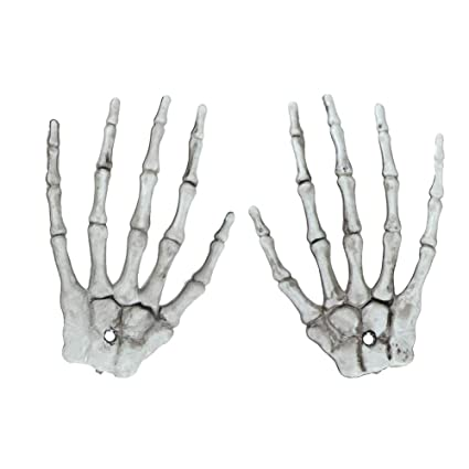 berteri 1 pair plastic skeleton hands haunted ghost house hand props for halloween props chamber party