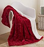 "DaDa Bedding Valentine Throw Blanket - Fluffy Fuzzy Puffy Hearts in Love Plush Faux Fur Sherpa Fleece for Lap or Sofa - Cuddly Gift for Her Day Soft Embossed Solid Pomegranate Merlot Red - 50"" x 60"""
