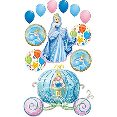 Cinderella Party Supplies Princess and Carriage Birthday Balloon Bouquet Decorations: Toys & Games