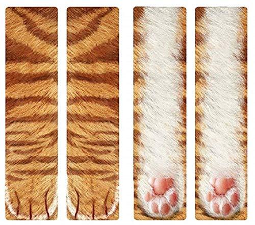 3D Socks Unisex Adult Big Kids Animal Paw Crew Socks - Sublimated Print (Orange Cat) -