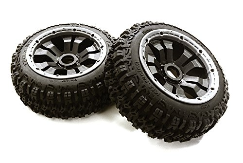 Integy RC Model Hop-ups OBM-1651 Type 66069-110 Front Wheel & Tire Set (2) for HPI 1/5 Baja 5B & (Maxx Front Tire)