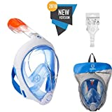 Tribord/Subea (2018 Version) Full Face Snorkel Mask with Sports Cam Mount (GPro), Enhanced Anti-Fog and Anti-Leak (Blue, M/L)