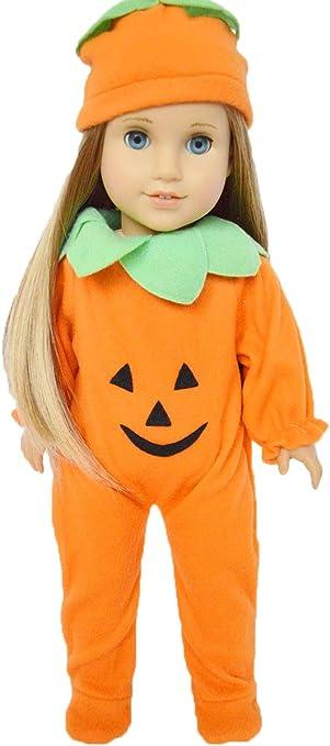 Newberry 18 Inch Doll Clothes 6 Piece Halloween Dress Up Pumpkin Costume