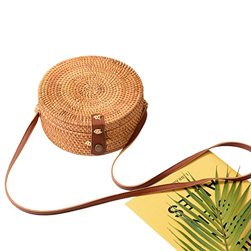 Leather Shoulder Summer Style Crossbody 4 Bohemian Round cheerfulus Strap Bag Retro Woven Rattan Beach Chic Bag with wOqFX0