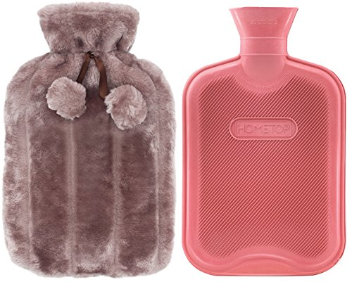 Premium Classic Rubber Hot Water Bottle and Luxurious Faux Fur Plush Fleece Cover w/Pom Pom Decor (Nude Pink) (Fur Heater)