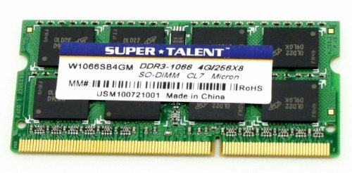 Super Talent DDR3 1066 SODIMM 4 GB Micron Chip Notebook Memory W1066SB4GM