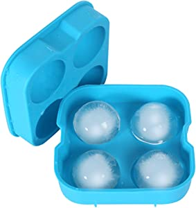 Alselo Ice Cube Trays Silicone Ice Ball Maker Mold Food-grade BPA Free Flexible Durable and Reusable Ice Tray with Spill-resistant Removable Lid and Funnel (blue)