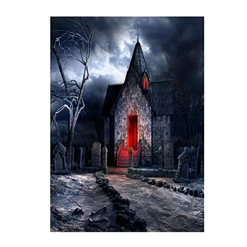 90150cm 3D Halloween Creepy Backdrop Realistic Horror House Scary Night Background for Parties Photography Studio Photo Booth -