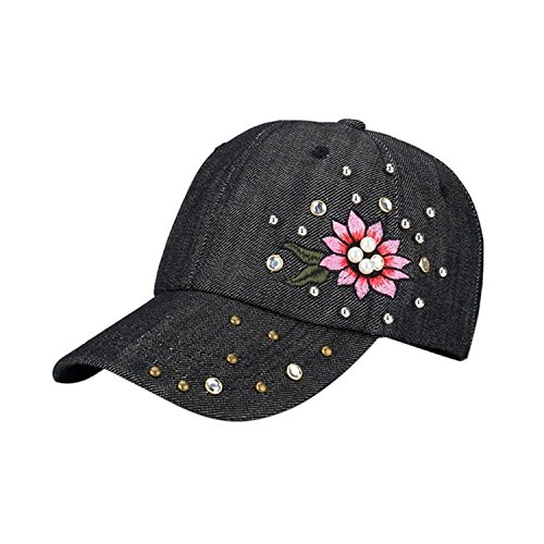 Dutch Von Denim (Rising ON Floral Embroidery Women Baseball Cap 2018 Summer Cool Denim Rising ON Female Hip Hop Flat Hat,OneSize,Black)