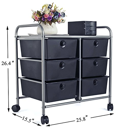 Easeoffice 6 Drawer Rolling Storage Cart With Heavy Duty