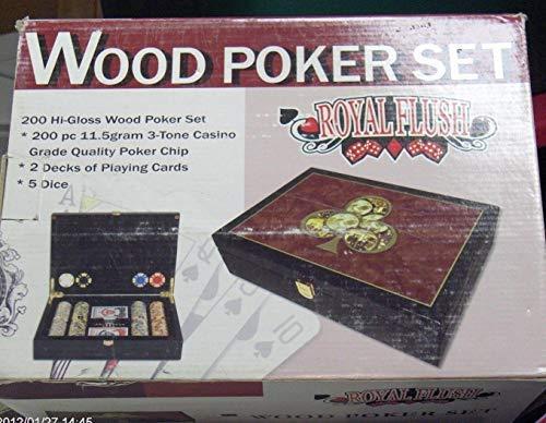 Casino Grade Royal Flush Hi-Gloss Wood Poker Set - 200 pc 11.5 Gram Chips 2 Decks of Cards and 5 Dice