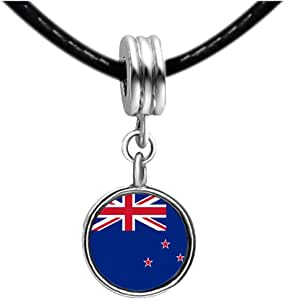 Chicforest Silver Plated New Zealand flag Photo Blue Zircon Crystal December Birthstone Flower dangle Charm Beads Fits Pandora Bracelets