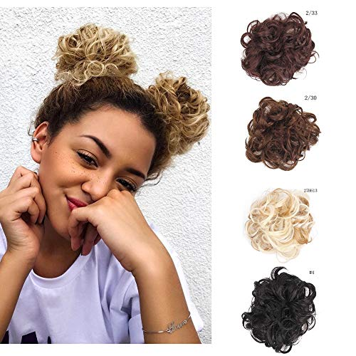 Synthetic Messy Bun Scrunchie Hair Pieces for Women Updo Ponytail Hair Extensions Hair Donut Hair Chignons (#27H613) by BYhair