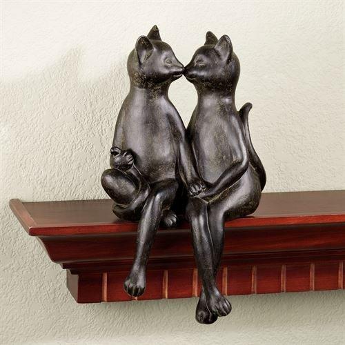 Touch of Class Kissing Cats Bronze Finish Shelf Sitter