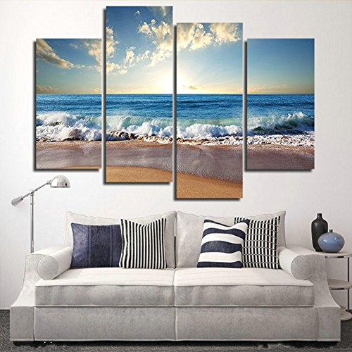 Modern Landscape Painting on Canvas 4 Piece Beach Ocean Pictures Wall Art for Living Room Home Decor Wooden Framed Stretched Ready to Hang (48x32 inch)