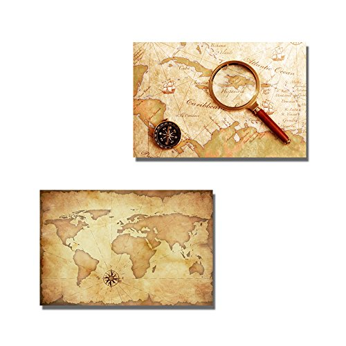 Vintage Voyage Theme with Grunge Map Globe Brass Compass and Magnifier Wall Decor ation x 2 Panels