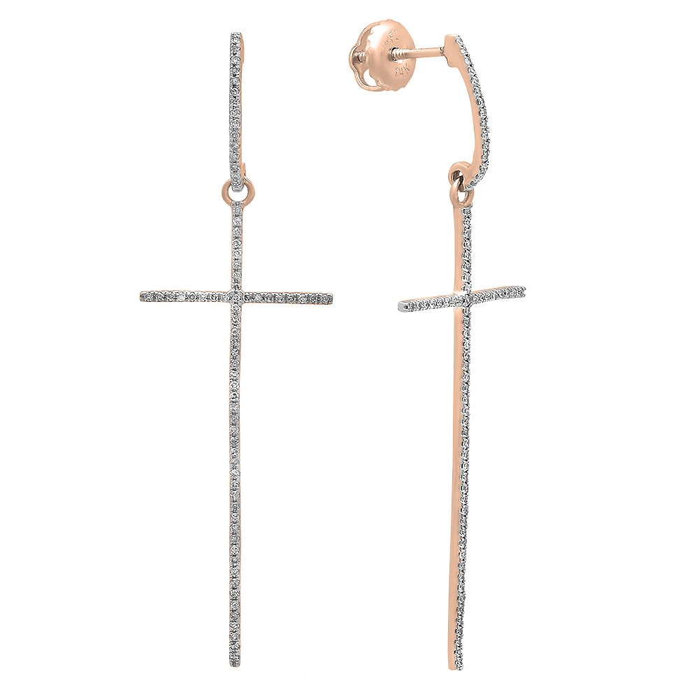 0.20 Carat (ctw) 14K Rose Gold Round Diamond Ladies Cross Shaped Dangling Drop Earrings 1/5 CT