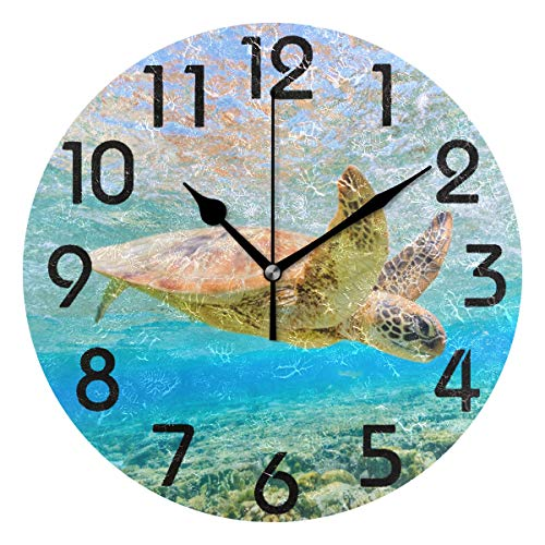 Naanle Chic 3D Underwater Ocean Swimming Sea Turtle Print Round Wall Clock Decorative, 9.5 Inch Battery Operated Quartz Analog Quiet Desk Clock for - Turtle Sea Clock