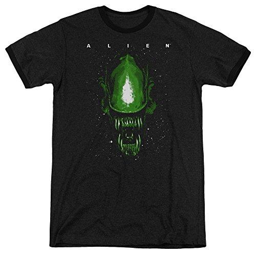 Pour Hommes Aliens Space Black T shirt Ringer xqOARz 93edfcc5490