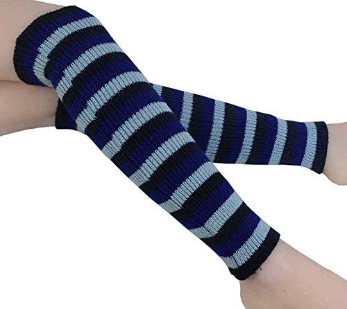 Knit Striped Leg Warmers - 5