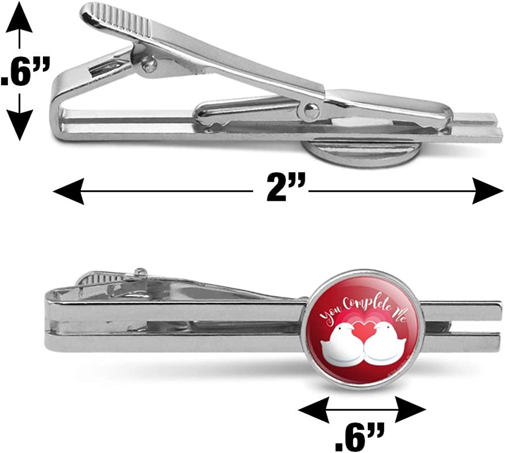 GRAPHICS /& MORE Peeps Heart Valentine You Complete Me Love Round Tie Bar Clip Clasp Tack Silver Color Plated