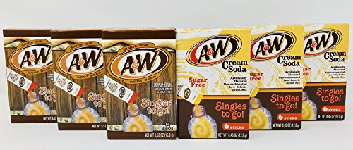 A&W Root Beer + A&W Cream Soda Drink Mix Singles to Go! Variety Pack Bundle - 3 Boxes w/6 pouches each of Each (Beer Mix Variety Pack)