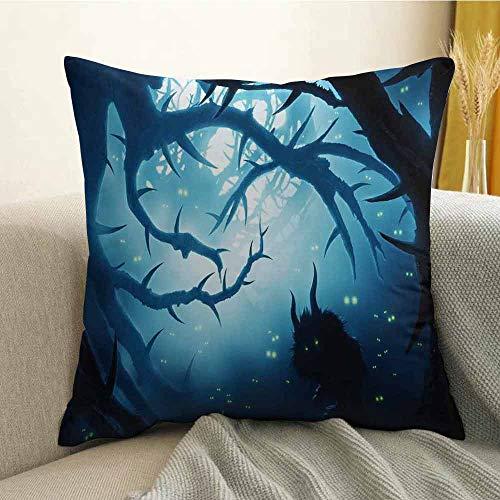 Mystic Decor Printed Custom Pillowcase Animal with Burning Eyes in Dark Forest at Night Horror Halloween Illustration Decorative Sofa Hug Pillowcase W18 x L18 Inch Navy White -