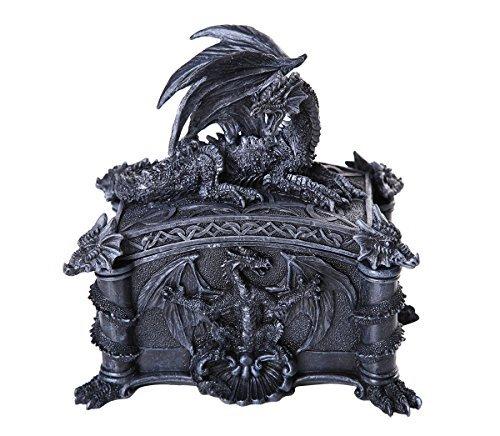 - Pacific Giftware Medieval Ferocious Dragon Lidded Trinket Jewelry Box Decorative Keepsake Box Rectangular 6.25 Inch L
