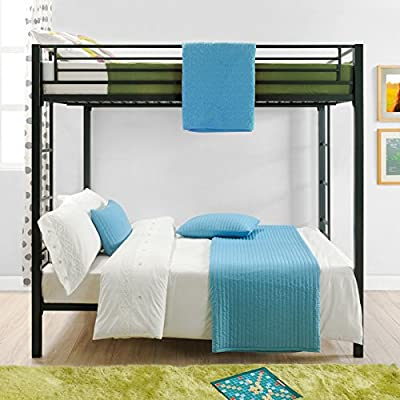 DHP Full Over Full Metal Bunk Bed, Sturdy Frame with Metal Slats, Black