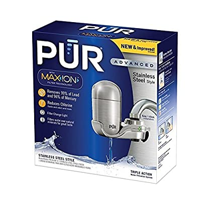 PUR NEW Advanced Faucet Water Filter Stainless Steel Style FM 4000B
