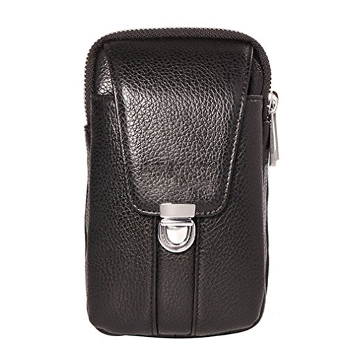 Price comparison product image KUAISUF Genuine Leather Men Waist Hook Bag Belt Small Money Cell / Mobile Phone Cigarette Case Purse Pouch Male Pack Black S