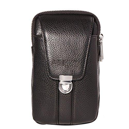 KUAISUF Genuine Leather Men Waist Hook Bag Belt Small Money Cell/Mobile Phone Cigarette Case Purse Pouch Male Pack Black (Black Cigarette Money Case)