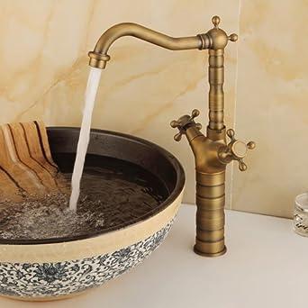 Yannlii Antique Brass Bathroom Sink Faucet Two Handle Single