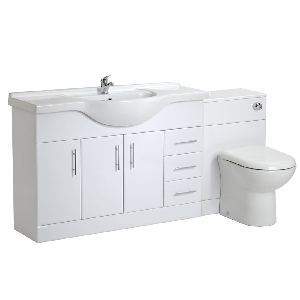 White gloss bathroom furniture - 1200mm White Gloss Bathroom Vanity Furniture Storage Drawer Unit Sink And Back To Wall Toilet Set Amazon Co Uk Diy Tools