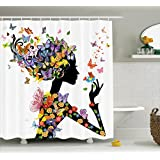 Ambesonne Butterfly Shower Curtain Girl Decor, Girl Fashion Flowers with Butterflies Ornamental Floral Foliage Nature Forest Design, Polyester Fabric Bathroom Set with Hooks, Black White Purple