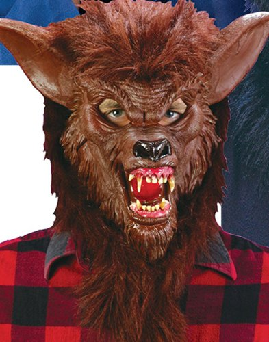 Brown Werewolf Latex Mask Evil Fangs Halloween Costume Accessory Wolf Man -