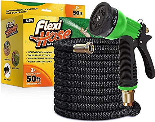 FlexiHose Upgraded Expandable 50 FT Garden Hose, Extra Strength, 3/4