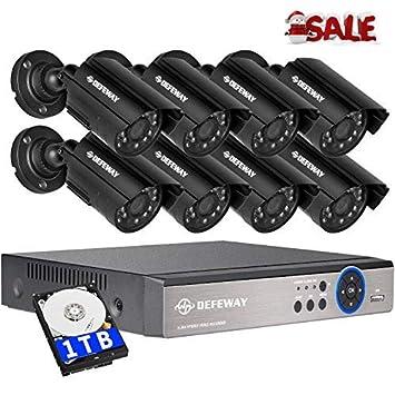 Defeway Sistema de Seguridad 8CH HD-TVI DVR Con Disco Duro De 1TB + 8x
