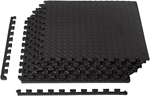 Puzzle Sport Mat - AmazonBasics EVA Foam Interlocking Exercise Gym Floor Mat Tiles - Pack of 6, 24 x 24 x .5 Inches, Black
