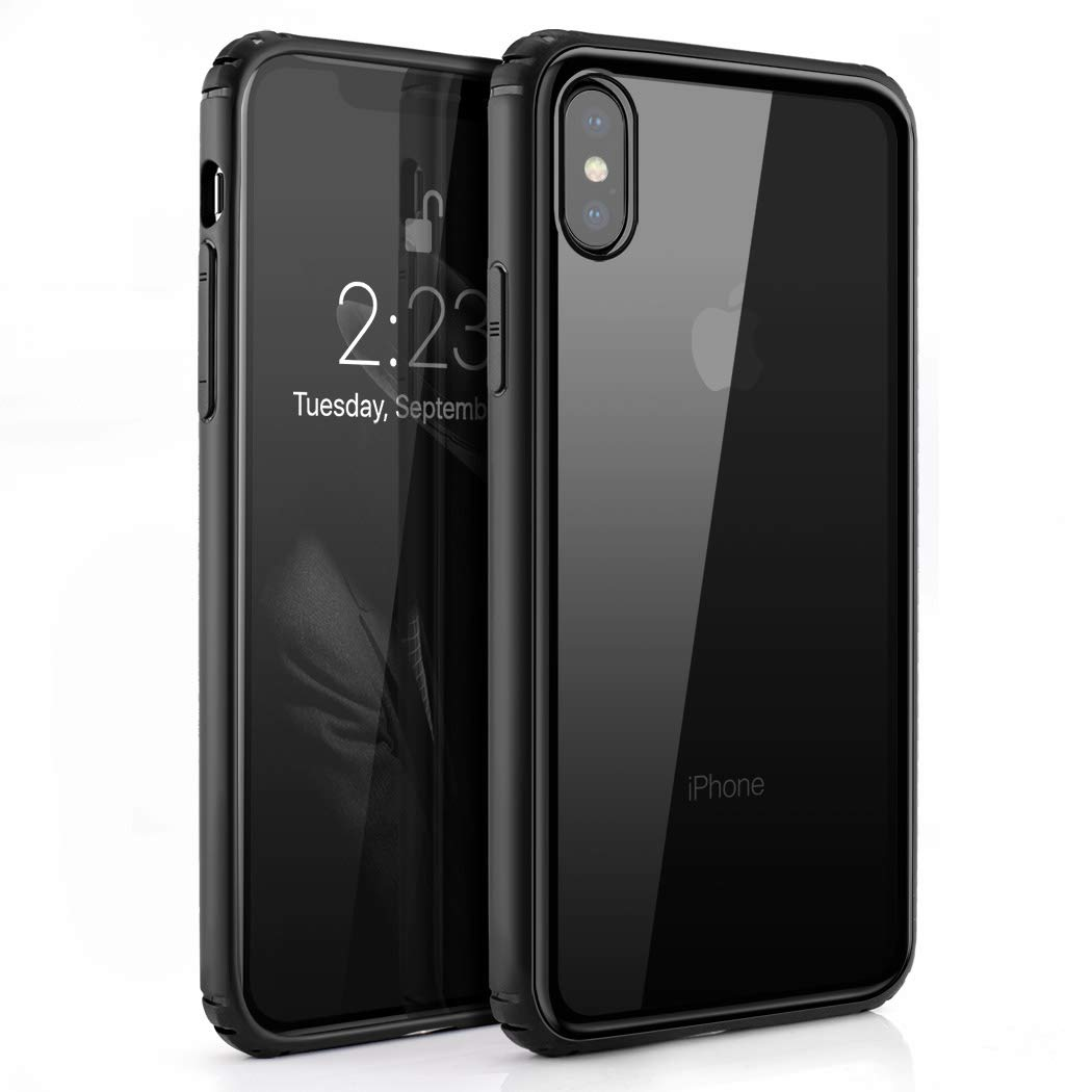 Phone Case Compatible iPhone X/XS, Besiva Tempered Glass Back Cover Soft Silicone Rubber Bumper Frame Shock Absorption Anti-Scratch Support Wireless Charging Compatible iPhone X/XS (Clear)