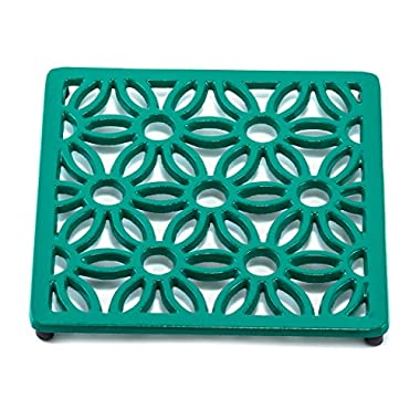 Old Dutch Square Flora Trivet, Emerald Green