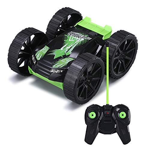 Remote Control Car RC cars for kids Stunt Toy Vehicle 360°Rotating Double-sided 4WD Off Road Electronic Race Car Boys Girls Children Gifts, Green(Battery Included) ()