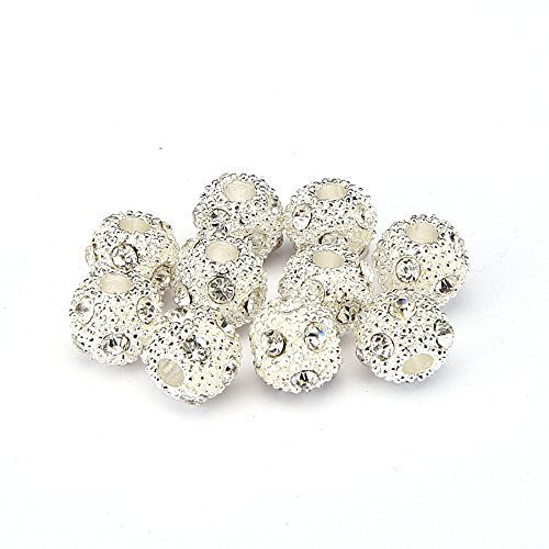 BRCbeads Top Quality 8mm CLEAR CRYSTAL Color Metal Style #2 CRYSTAL RHINESTONE BALL Shape SPACER BEADS Silver Plated 10pcs Per Bag For Jewelry Making ()