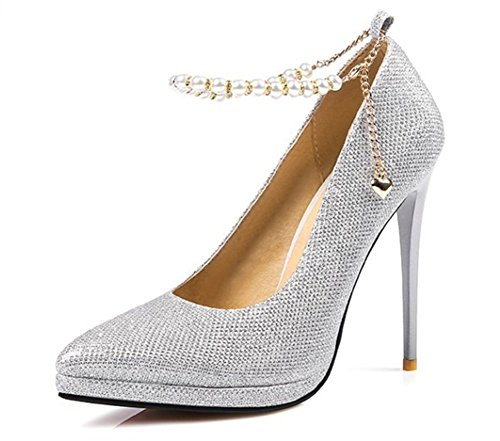 Sfnld Women's Sexy Pendant Pointy Toe Platform Stiletto High Heels Ankle Strap Wedding Pumps Shoes Silver 9.5 B(M) US