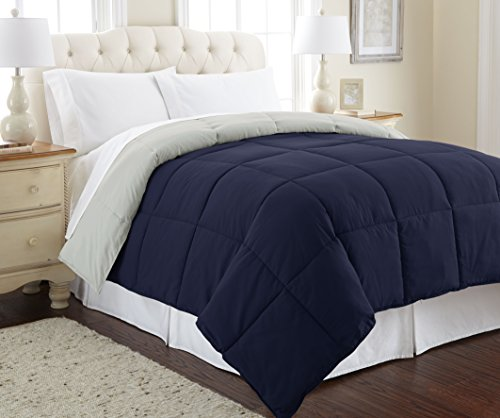 Amrapur Overseas Goose Down Alternative Microfiber Quilted Reversible Comforter / Duvet Insert - Ultra Soft Hypoallergenic Bedding - Medium Warmth for All Seasons - [Twin, Eclipse/Silver] ()