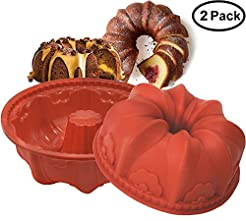 Silicone Bundt Cake Fluted Pans Nonstick...