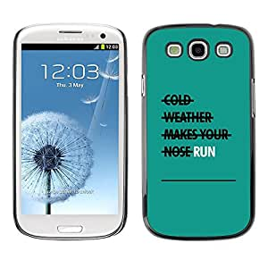 LECELL--Funda protectora / Cubierta / Piel For Samsung Galaxy S3 I9300 -- Run Exercise Teal Motivational --