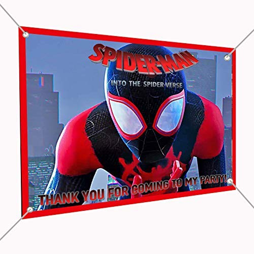 Spiderman Movie Banner into The Spider-Verse Large Vinyl Indoor or Outdoor Banner Sign Poster Backdrop, Party Favor Decoration, 30'' x 24'', 2.5' x 2'