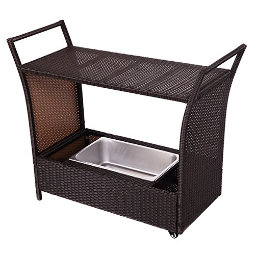 Rolling Rattan Wicker Trolley Cart Kitchen Island Ice Cooler Outdoor Patio Garden Deck Dining Storage Bucket Beer Chest Portable UV Resistant And Waterproof Aluminum Frame Indoor And Outdoor Use (Argos Rattan Garden Furniture Set)