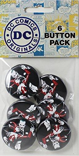"Button set DC Comics Batman Joker with Harley Quinn 6 Individual Loose Buttons, 1.25"""